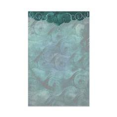 Classic Teal Bordered Swirls Custom Stationery