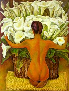 Diego Rivera - Nude with Calla Lilies - 1944 - Oil on panel - 157x124cm. - Style: Art Deco