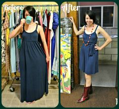 Maxi Dress refashion.  Cut off bottom and tie creatively around the waist.