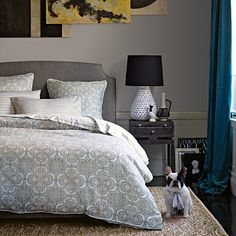 like the headboard with men's suiting material