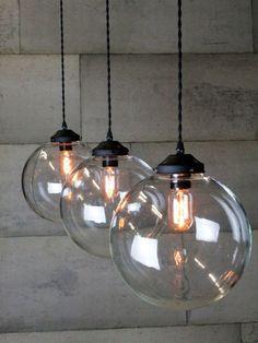 Triple glass globe pendant More
