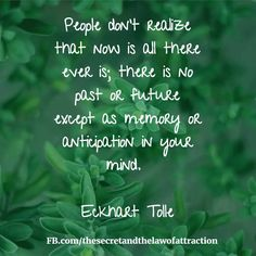 """People don't realize that now is all there ever is; there is no past or future, except as memory or anticipation in your mind."""" --Eckhart Tolle"""