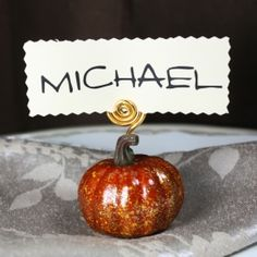 Dollar Store DIY foam pumpkin place card holders for your holiday tablescape