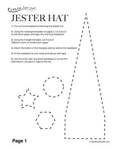 Mardi Gras paper crafts are a fun creative activity for children. This three-dimensional jester hat can be made with some colorful construct...