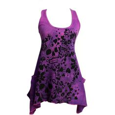 Hand Dyed Magenta and Purple Shark Tale Hem Racer Back Tank Tunic with... ❤ liked on Polyvore