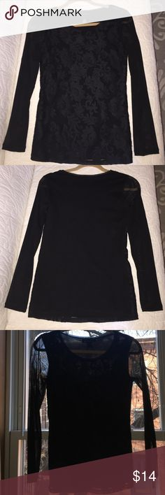 INC BLACK long sleeve top with sheer sleeves Sheer long sleeves with lace overlay on the front, solid on the back. Size small INC International Concepts Tops