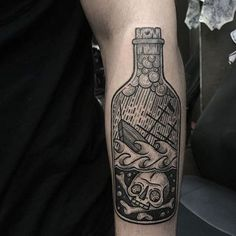 60 Ship In A Bottle Tattoo Designs For Men - Maritime Art Ideas- 60 Ship In A Bottle Tattoo Designs For Men – Maritime Art Ideas Skull With Bones Ship In A Bottle Woodcut Male Tattoos - Arm Tattoos, Black Tattoos, Sleeve Tattoos, Cool Tattoos, Ship Tattoos, Male Tattoo Sleeves, Creative Tattoos, Skull Tattoos, Deep Tattoo