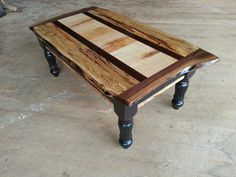 coffee table black over red base with spalted maple and black walnut top Spalted Maple, Old Antiques, Dining Table, Base, Rustic, Coffee, Red, Furniture, Home Decor