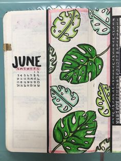 June 2018 bullet journal cover page. This month is full of palm leaves and pink accents. #bujo #bulletjournal