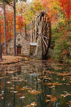 old mill wheel in fall