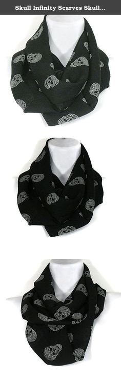 """Skull Infinity Scarves Skull Apparel Skull Chiffon Scarves Rocker Scarves. Black chiffon with white imprinted skulls. Perfect for a subtle Halloween costume . Get in the spirit. Approximate measurements: 58"""" circumference X 8 """" high. Fabric is doubled then sewn together. No exposed seams or raw edges. Wear wrapped around the neck twice or left to hang loose in one long loop. Color is dark black. Some images have been lightened to show detail."""