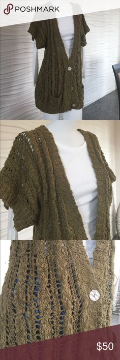 Free People Crocheted Cardigan Vest The perfect piece for fall layering! Olive green Crocheted vest by Free People. V-front, 3 button cardigan style. 100% cotton. Size L Free People Sweaters Cardigans