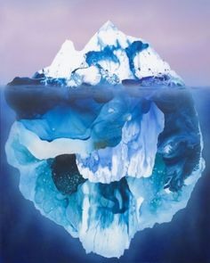 Iceburg. What was the rule again? Ice is less dense than water so that's why these things happen??