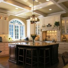 Looove the coffered ceiling too!!! Blue Louise Granite Design Ideas, Pictures, Remodel, and Decor - page 34