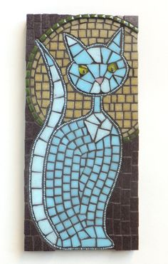Mollycat Mosaics - Mosaic Art and Home Decor : Mysterious Kitty by Mollycat Mosaics - Outlined in powder blue seed beads, then completed with two shades of sky blue vitreous glass, including luminous yellow-green eyes & an adorable pink nose. Mosaic Wall Art, Tile Art, Mosaic Tiles, Mosaic Glass, Glass Art, Stained Glass, Mosaic Art Projects, Mosaic Crafts, Mosaic Designs