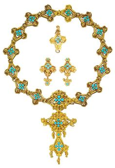 Antique Gold and Turquoise Pendant-Necklace and Pair of Earrings. Composed of diamond-shaped links centring turquoise florets, flanked by stylized scrollwork, centring a more elaborate link, suspending a fancy-shaped pendant-brooch, the reverse with glazed compartment with woven hair, three extra links converted to a pendant and pair of earrings, approximately 52.4 dwt. Length 17 inches.