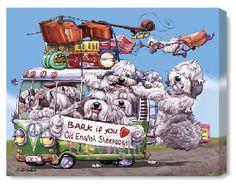 old english sheepdog cartoon art | Bark If You Love - Old English Sheepdogs Canvas Print Gift