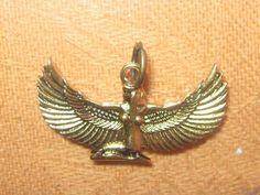Wholesale Lot of 4 Gold Brass Tone Egyptian Goddess Isis Pendants