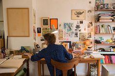 Kitty Crowther, Painters Studio, Art Studio Design, Its Nice That, Aesthetic Bedroom, Amazing Spaces, Home Studio, New Room, Art Studios