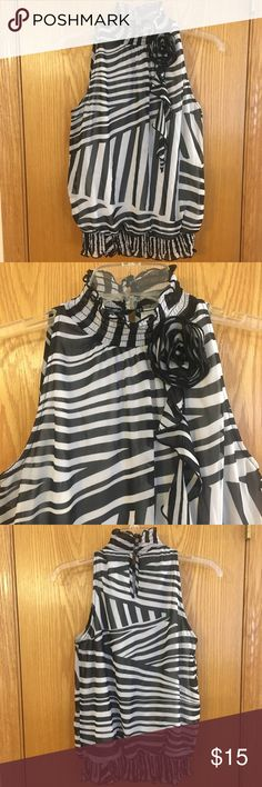 Sleeveless Blouse Sleeveless blouse in perfect condition. Buttons on top of back side. Top layer is sheer with a solid white layer underneath. Iz Byer Tops Tank Tops