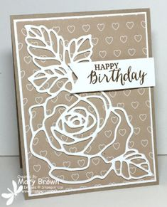 handmade birthday card ... taupe and vanilla .... rose and leaves die cut ... oulintes only ... luv how it perfectly fits the card ... Stampin' Up!