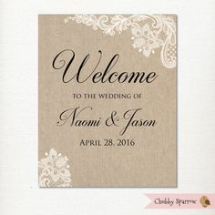 Wedding Welcome Sign Friends and Family Ceremony by ChubbySparrow