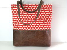 Urban Tote in Red and White Canvas and by RedStaggerwing on Etsy, $95.00