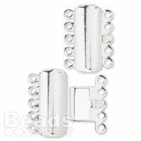 £0.97   Clasp silver-plated 5-strand 17x8mm curved rectangle