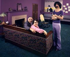 Frank Zappa in his eclectic Los Angeles home with his cat, his dad Francis, and his mom Rosemarie in 1970