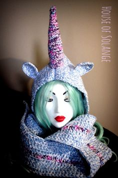 Unicorn hooded scarf, Hooded scarf, Crocheted scarf, Unicorn scarf, Unicorn hat, Fantasy scarf Some days you wake up and think you know what Im gonna be magical today. At least I know I do. Help yourself get into a magical mood with this Unicorn hood scarf. One size. Made to fit adults. Handmade with love and 100% Acrylic wool. Made in a clean, smoke-free, cat free house. ***If you live in St. Johns, NL or area, pick up and delivery is available*** Please feel free to contact me for any ...