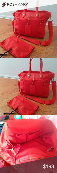 Marc Jacobs 'Preppy Nylon Eliz-a-baby' Diaper Bag Marc by Marc Jacobs 'Preppy Nylon Eliz-a-baby' Diaper Bag Color is Blaze Red. Includes original tags and changing pad. Excellent used condition. Pet free smoke free home. Marc Jacobs Bags