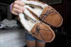 ugg mocassins. 6.5 or just cute moccasins in general but they have to have fluff (: