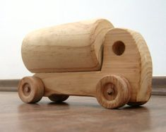 Hank the little tanker - a wooden toy tanker for toddlers, natural finish waldorf wood toy