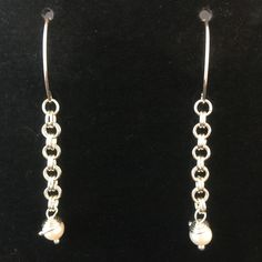 Genuine Pearl & Pure Silver Double Link Dangle Traditional Classic Earrings by MJDesigns4You on Etsy