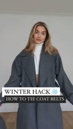 Winter Outfits Women, Winter Fashion Outfits, Look Fashion, Fashion Design, Fashion Coat, Diy Clothes Life Hacks, Clothing Hacks, Ways To Wear A Scarf, How To Wear Scarves