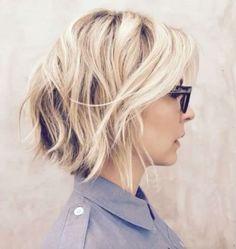 Shaggy blonde inverted bob by Riawna Capri