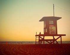 Beach Sunset Lifeguard Tower Silhouette Ombre Fine Art Photography Summer California