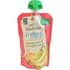 Beech-Nut Fruities on-the-Go Banana, Pear & Sweet Potato Puree Baby Food, 3.5 oz, (Pack of 12)