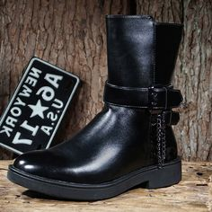 Mens Black Leather Gothic Fashion Chelsea Military Boots SKU-1280733