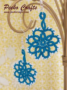Summer Fashion Lace Earrings Ocean Teal Crochet by PeekoCrafts