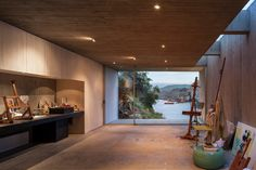 Architecture studio Felipe Assadi created 'Casa Bahia Azul', a concrete house on the Chilean Coast that functions as a painter's Studio. Contemporary Architecture, Interior Architecture, Interior And Exterior, Interior Design, Architecture Images, Concrete Houses, Concrete Art, Painters Studio, Studio Build
