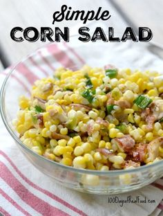 Take advantage of fresh corn available in summer months and throw together this simple corn salad for a light dinner (or lunch) side item!