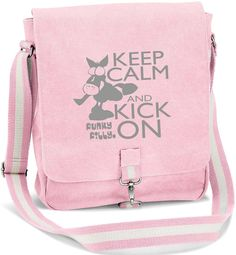 Keep Calm and Kick On Vintage Canvas Messenger Shoulder Bag Baby Pink