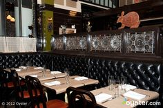 We love how the Michelin-starred Breslin at the Ace Hotel NY has a hip barrom decor. Bring on the leather booths and bar stools!