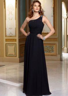 3a36c4aef882 Gulvlengde En Skulder Chiffon Brudepikekjoler 2014 Dress Prom