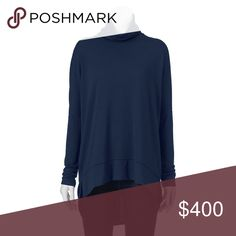 Drop shoulder turtleneck navy Product Details You'll love the stylish sophistication of this Ransom turtleneck.  PRODUCT FEATURES Long sleeves Drop-shoulder design Vented high-low hem Stretchy construction Back seam FABRIC & CARE Polyester, rayon, spandex Machine wash Tops
