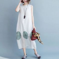 White loose summer big size long dress women clothes New arrivals free ship. from Diyanu - Ankara Dresses, Shirts & Linen Dresses, Casual Dresses, Fashion Dresses, Summer Dresses, Maxi Outfits, Work Outfits, Dress Clothes For Women, Handmade Dresses, Facon