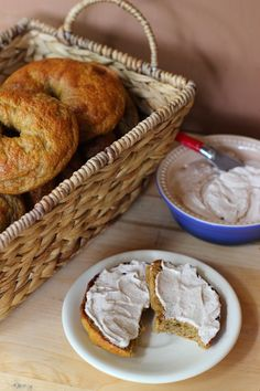Pumpkin Bagels with Maple Smear from Sweet Cinnamon & Honey