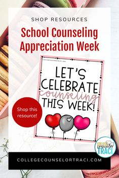 Need sweet and engaging National School Counseling Week Ideas? College and career readiness starts with honoring the counselors that help students achieve higher! This quick and low-prep sweet treats appreciation bulletin board set is ideal for honoring and appreciating the counselors in your school! Shop College Counselor Traci for more ideas! #schoolcounseling #nationalschoolcounselingweek #NSCW #counselorappreciation Counselor Bulletin Boards, Counselor Office, National School Counseling Week, All Colleges, College Success, Appreciation Gifts, Sweet Treats, Career, Students