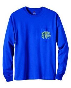 Monogrammed Long Sleeve Pocket T-Shirt-Royal Blue